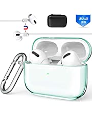 Valkit Compatible Airpods Pro Case Cover, TPU Translucent Airpod Pro Protective Case 2019 with Keychain Shockproof Cover Case for Apple Airpod Pro Charging Case 3rd Gen[Front Led Visible] - Mint Green