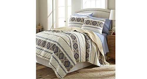 2 Piece Ivory White Native American Quilt Twin Set, Off Natural White Beige Southwest Bedding, Log Cabin Lodge Cottage Summer Lightweight Southwestern Aztec Tribal Stripes, Polyester Micro (Summer Cottage Stripe)