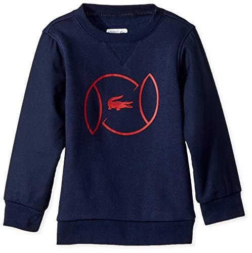 Lacoste Big Boy Sport Croc Logo Sweatshirt, Navy Blue/Lighthouse red, 16