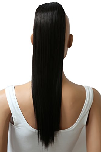PRTTYSHOP Hair Piece Pony Tail Extension Draw String Voluminous Curly Heat-Resisting 22 cm black-brown # 3 PH503