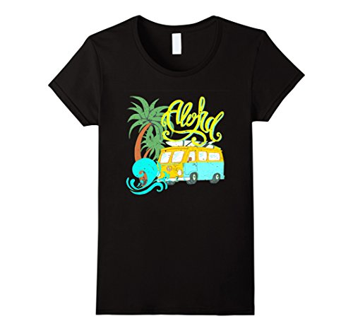Womens Aloha Vintage Look Distressed Camper Surf T-Shirt Medium Black