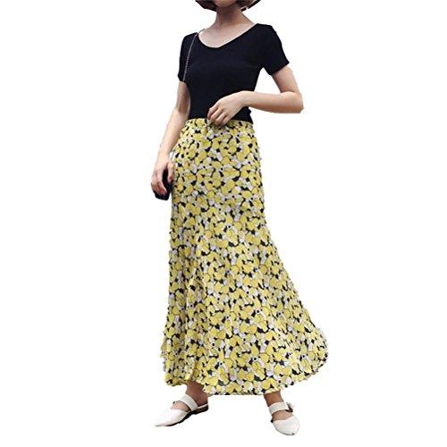 Imprim Bohme Vacances de Longue Floral Soie Vintage Jupe Femme Plisse Jaune Mousseline Jupe Sirne FuweiEncore Plage w6xq7nwR