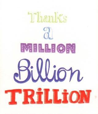 Thanks a million billion trillion thank you greetings card amazon thanks a million billion trillion thank you greetings card m4hsunfo