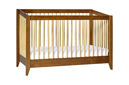 Babyletto Sprout 4-in-1 Convertible Crib with Toddler Bed Conversion Kit, Chestnut Natural