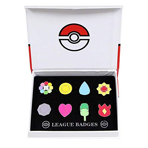 - Pocket Monster Generation 1 Kanto Region Gym Badge Collection Box Set of 8PCS, Gift for Boy and Girls