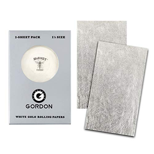 Hornet 24K White Gold Rolling Papers, 1 1/4 Size 2-Sheet Raw Cigarette Papers with Loader Card (78 mm)