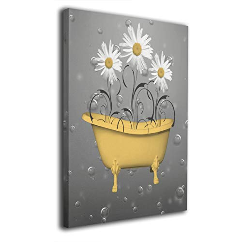 Okoart Daisy Flowers Bathtub Yellow Bubbles Canvas Wall Art 16x20inch Picture Print Paintings Modern Artwork for Living Room Wall Decor and Home Decor Framed Ready to Hang