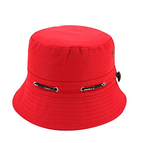 Quaanti Outdoor Unisex Boonie Sun Hat丨Cool Breathable 100% Cotton Bucket Summer Sun Cap for Men & Women丨for Fishing,Hiking,Camping,Boating & Outdoor Adventures.Breathable (Red)