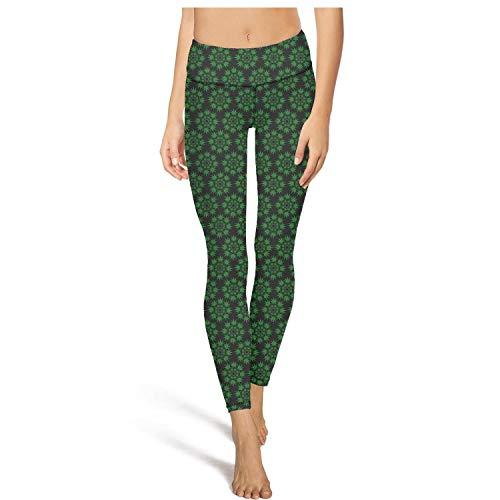 PLOKINC Yoga Pants with Pockets for Womens Capri Leggings Cannabis Leaf Marijuana Weed Sport Workout Running Legging Tight Pants