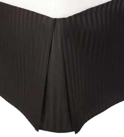 1500 Series Wrinkle Resistant Pleated Twin XL Bed Skirt Stripe, Black - 15 Inch Drop and Wrinkle Resistant