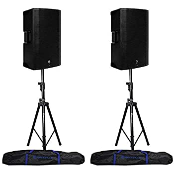2 mackie thump15bst thump 15bst 15 1300w active dj pa speakers hydraulic stands. Black Bedroom Furniture Sets. Home Design Ideas
