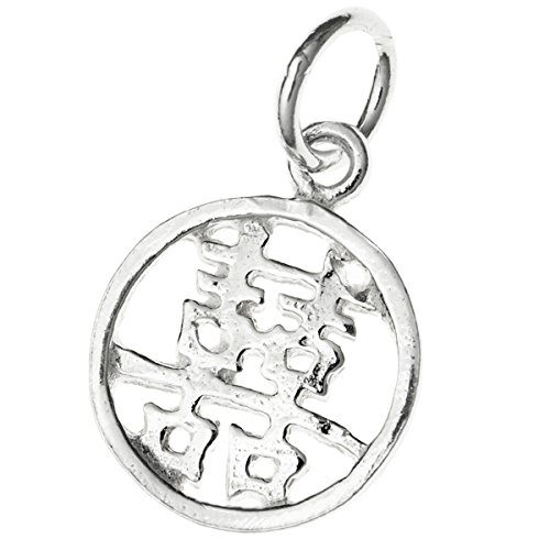 - 1 pc Sterling Silver Chinese Word ''Double Happiness'' Dangle Charm Bead 11mm