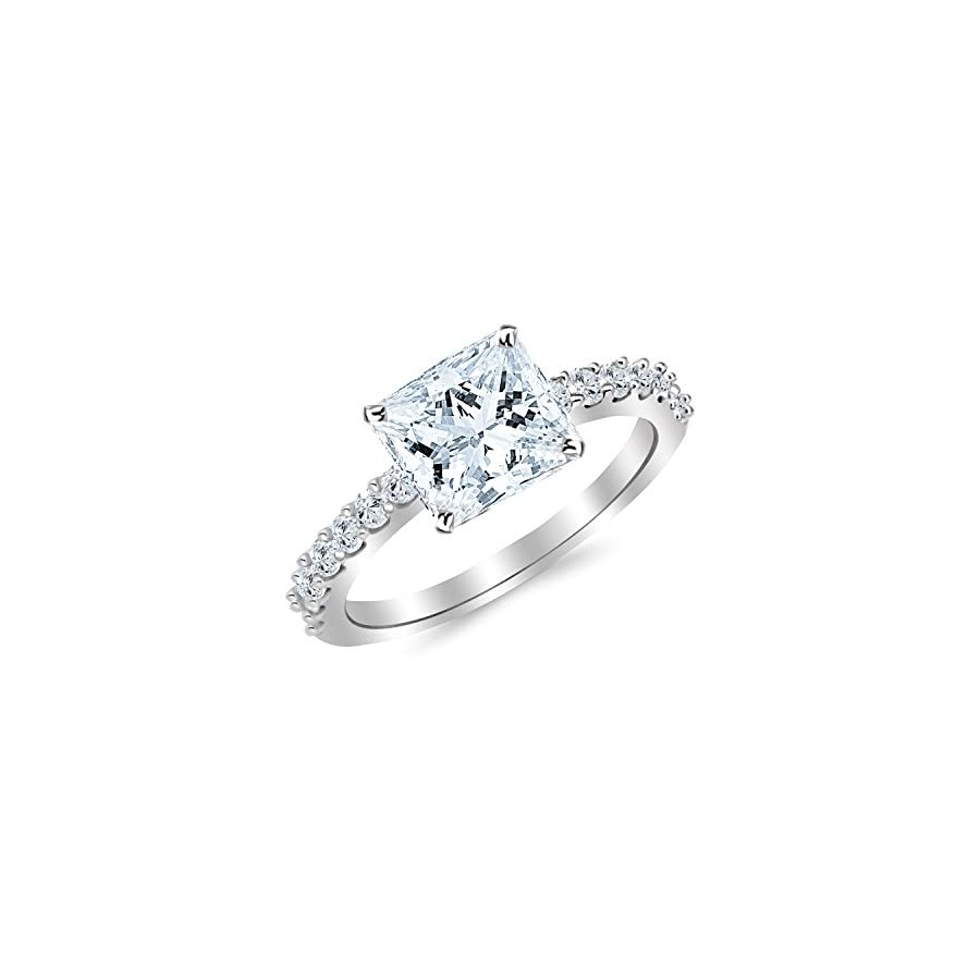 1.93 Carat t.w. 14K White Gold Classic Prong Set Diamond Engagement Ring with a 1.5 Ct Forever One Princess Moissanite Center