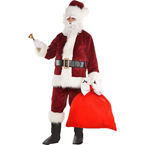 Party City Dark Red Santa Suit Costume Kit for Adults, Christmas Costume, Standard, with Included Accessories -
