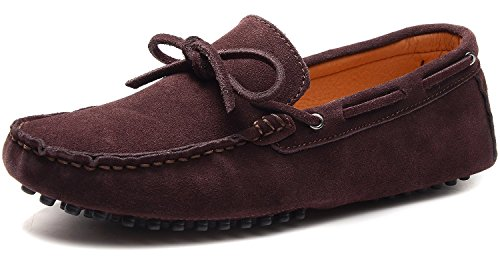 Odema Hombre Casual Zapatillas de ante Slip-on Driving Shoesd Cafe