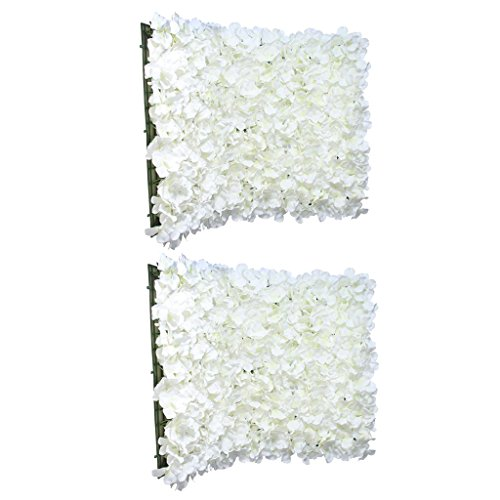 MonkeyJack 2Pieces Silk Hydrangea Artificial Flower Wedding Backdrop Background DIY Decor Crafts Cream (Diy Flower Backdrop)