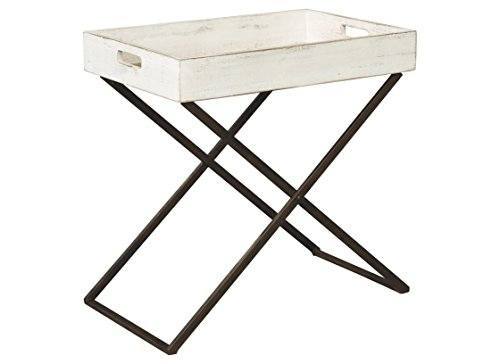 Ashley Furniture Signature Design - Janfield Tray Accent Table - Vintage - Antique White Wood Top - Antique Black Metal Base ()