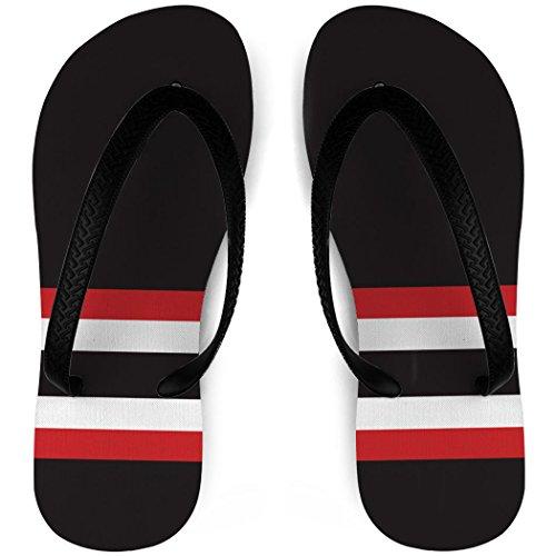 Hockey Flip Flops Sokk Striper Svart / Rød