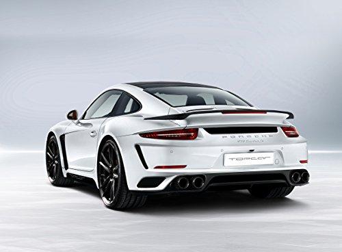 Stinger Rear (Top Car Stinger GTR based on Porsche 911 991 Turbo S (2014) Car Art Poster Print on 10 mil Archival Satin Paper White Rear Side Static View 20
