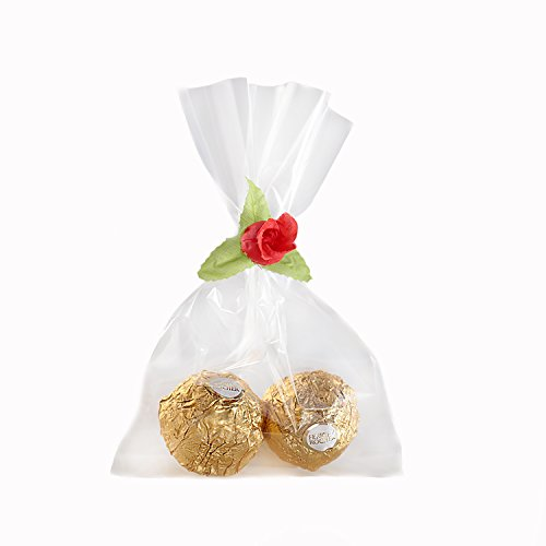 Party Gift Bags: 60 Treat or Favor Bags 6x4 inch Plus 60 Colorful Rose Flower Ties: Clear Cellophane for Birthdays, Parties, Gifts, (Roses Gift Bag)