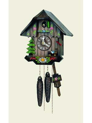 Original One Day Movement Cuckoo Clock with Hand Painted Flowers 8.5 Inch