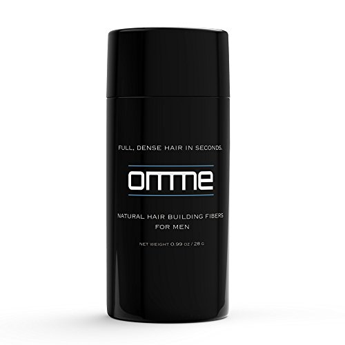 Natural Keratin Fibers Hair Loss Concealer Powder for Men by Omme Care (Black)