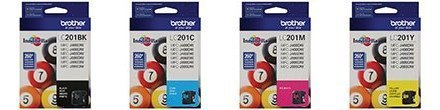 Genuine Brother LC201 (LC-201) Color (Bk/C/M/Y) Ink Cartridge 4-Pack (Includes 1 each LC201BK, LC201C, LC201M, LC201Y