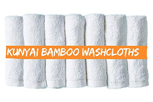 Kunyai Bamboo Washcloths - Best Premium Luxury Organic Washcloth 10X10 Inches, For Adults And Kids Better Than Cotton Ideal Gift and Baby Registry - Soft White Hypoallergenic Fiber (7 Pieces)