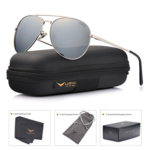 LUENX Sunglasses Aviator Polarized for Men & Women with Case - 400 UV Silver Lens Metal Gloss Silver Frame Colored - Men Sunglasses Clubmaster Style