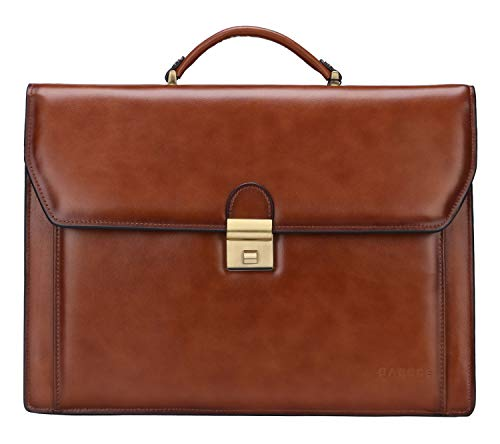 Banuce Vintage Genuine Leather Briefcase for Men Lock Lawyer Attache Case Laptop Messenger Bag