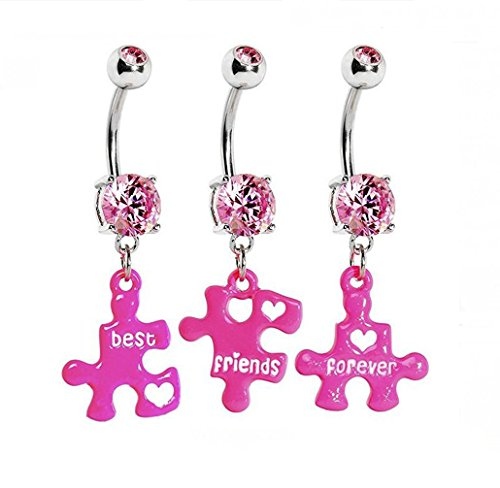 HYIdealism Pink Triple Puzzle Piece Best Friends Forever Dangle Belly Ring Set