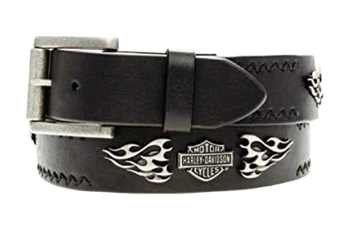 Harley-Davidson Men's Belt, Antique Torched Flaming B&S, Black HDMBT10753 (34) (Belt Black Medallion)