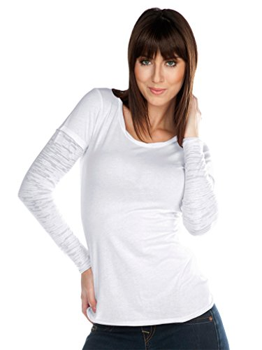 Long Jersey Sheer Sleeve Tee (Kavio! Junior Sheer Jersey Raw Edge Twisted Round Neck Two-Fer Burnout Long Sleeve White XL)
