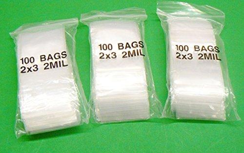 "2x3 ZIPLOCK BAGS RECLOSABLE BAGGIES 2MIL CLEAR ZIP LOCK SEAL BAG 2"" x 3"" 300 Pcs (6E) NOVELTOOLS"
