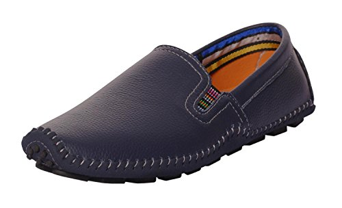 UJoowalk Mens Comfortable Casual Stylish Penny Stitched Striped Driving Slip on Loafer Shoes (7.5 D (M) US, Blue)