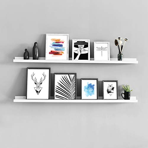 WELLAND Vista Photo Ledge Picture Display Wall Shelf Gallery (48-inch, White) ()