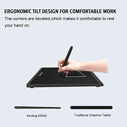 Kenting K5540 Drawing Tablet USB Graphic Tablet 5.5 x 4 inches Pen Tablet Board Kit Glove 6.7 inches OSU Tablet and Pen for Kids 4096 Levels Pressure Windows Mac Laptop Computer (Black + Case)