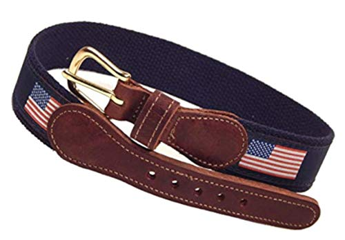 (Preston Leather American Flag Belt Blue)