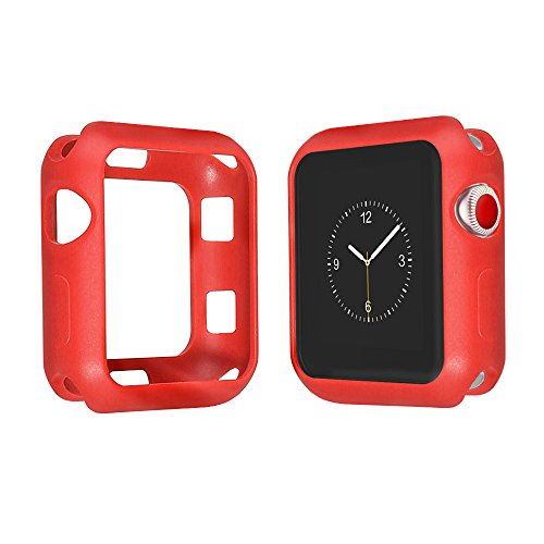 Series 4 2018 Super Silm Soft Silicone iWatch Protective Cover Bumper for Apple Watch Case 44mm Series 4 Edition Sport (Red, Series 4 44mm)