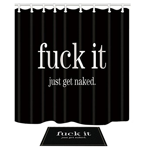 NYMB Funny Quotes Shower Curtains, Fuck It Just Get Naked in Black, 69X70in Polyester Fabric Shower Curtain Set 15.7x23.6in Flannel Non-Slip Floor Doormat Bath Rugs