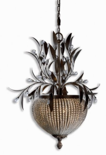 Uttermost 21004 Cristal de Lisbon 3-Light Chandelier, Golden Bronze Finish