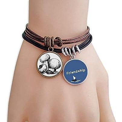 Yummy Creature Swamm Illustration Friendship Bracelet Leather Rope Wristband Couple Set Estimated Price -