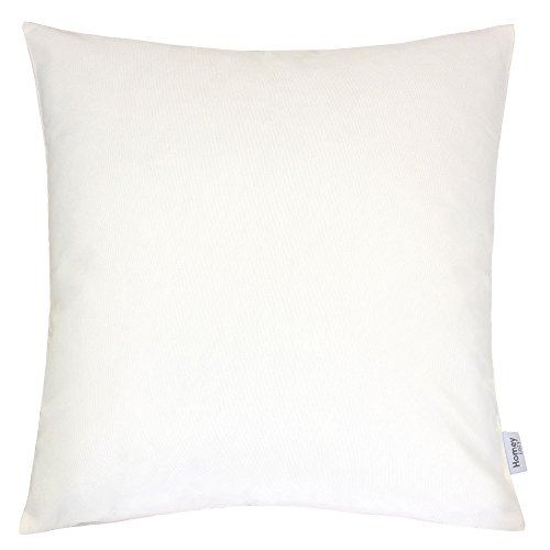 Homey Cozy Outdoor Throw Pillow Cover, Classic Solid Ivory White Large Pillow Cushion Water/UV Fade/Stain-Resistance For Patio Lawn Couch Sofa Lounge 20x20, Cover Only