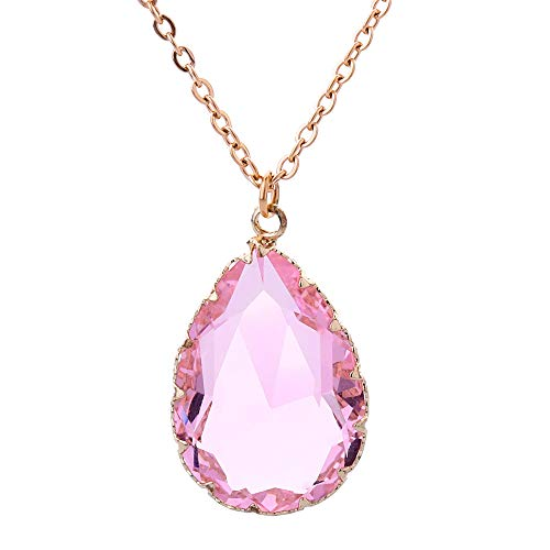 FANSING Gifts for Women, Teardrop Glass Pendant Necklace, Stainless Steel Chain, 18+2 inches, Pink