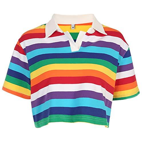 Women Rainbow Stripes Printed T-Shirt Korean Style Turn-Down Collar Crop Tops (M) ()