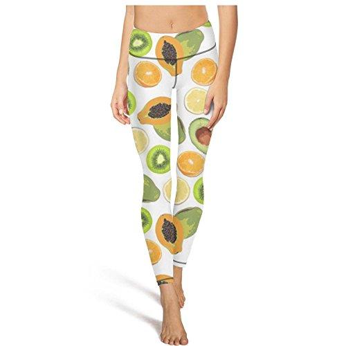 Saerg Bearry Women's Tropical Fruits Background Tummy Control