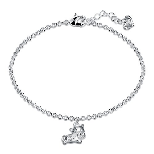 - Greendou Fashion Jewelry Chinese Zodiac Pendant Bracelet 925 Sterling Silver Plated Twelve Species Animals Pendant Adjustable Bracelets (Horse)