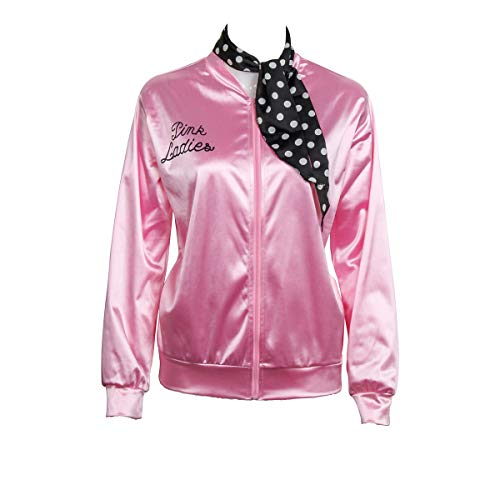 1950s Pink Satin Jacket with Neck Scarf Girls Women Danny Halloween Costume Fancy Dress -