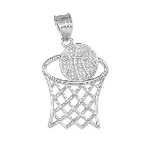925 Sterling Silver Textured Hoop and Basketball Charm Pendant Sterling Silver Basketball Charm