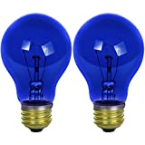 Sunlite 25A/TB/CD2 Incandescent 25-Watt, Medium Based, A19 Colored Bulb, Transparent Blue, Carded 2-Pack